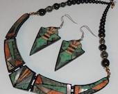 Lovely Lee Sands Art Deco Style Black Laminated Choker Necklace & Dangle Pierced Earrings Set