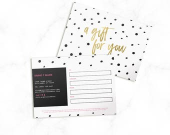 Gift Certificate Template - Polka Dot Template - Make Up Artist Gift Card - Gift Card Template - Photoshop Template - Marketing - Salon Gift
