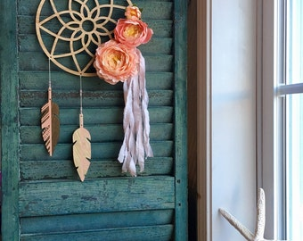 Floral dream catcher - bohemian baby - modern - wood feathers - vegan - coral and gold - wingedwhimsy - ready to ship