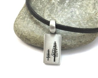 Nature Jewelry, Pine Tree Necklace with Vegan Leather Cord - Silver Tree Pendant