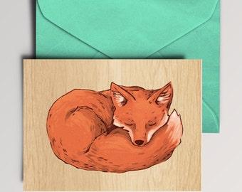 sleeping fox Card, Instant Download, Digital Download, printable card