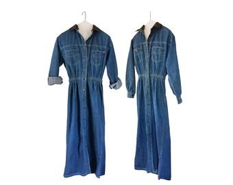 Vintage Denim Dress Blue Jean Dress Button Up Dress Button Down Dress 90s Dress Long Sleeve Dress Denim Jumper Chambray Dress Boho Dress
