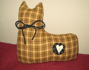 Cat Plush - Mustard and Black - Stuffed Cat - Shelf Sitter - Ready to Ship