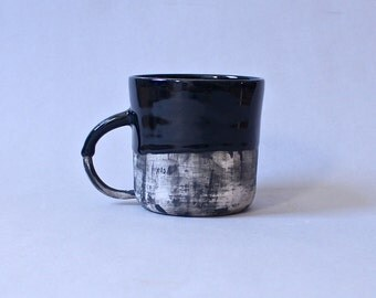 Fade Mug Black and White Porcelain, Coffee Mug Made to Order