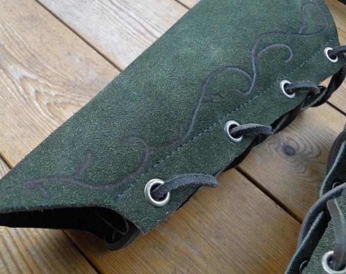 Elven Leather Bracers - Soft Muted Green Suede Pointed Arm Guards - Burned Vine Border Details