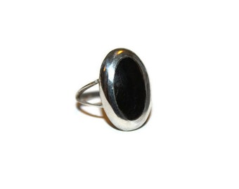 Vintage Sterling Taxco Onyx Ring Size 5