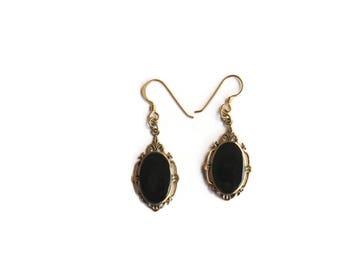 Vintage Art Deco Style Bronze Earrings