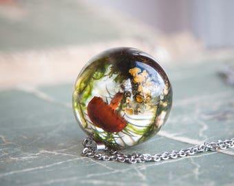 Mushroom Sphere Necklace - One-of-a-kind gift - Forest Lichen and Moss in clear resin - unusual necklace