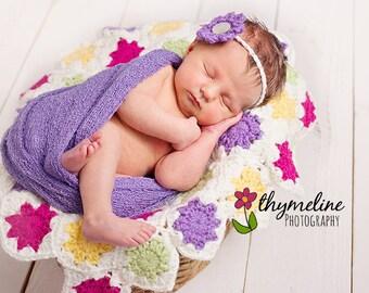 Lemon Square Mini Blanket, crochet Layering blanket, flower head band, newborn prop blanket,, newborn girl prop, baby prop, Crochet pattern