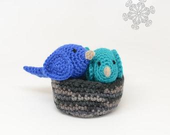 Crochet Bird Play Set - Made with Natural Fibers - Set of 2 Birds with a Nest