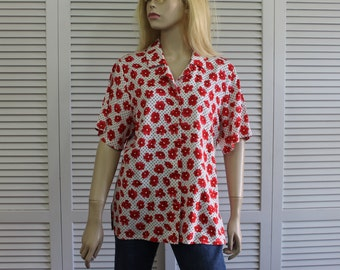 Vintage Pendleton Womens Blouse/Shirt Red and White Size 6 90s