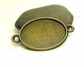 10 Oval Cabochon Connector Settings - Antique Bronze Tone - Fits 18x25mm Cab, Bezel Trays, Cameo Base, Pendant Blank - BC21