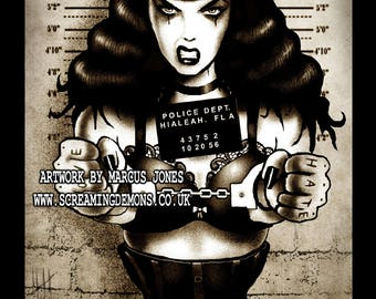 Bettie Page, Pinup Art, Pin up Artwork, lowbrow art, Rockabilly Art,  Mugshot Art Print by Marcus Jones