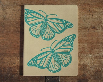 Monarch Butterfly Journal, XL, lined, kraft cahier journal, hand printed, teal ink