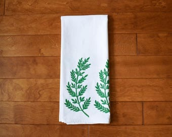 Fern Kitchen Towel, block print, flour sack towel, green (Made to Order)