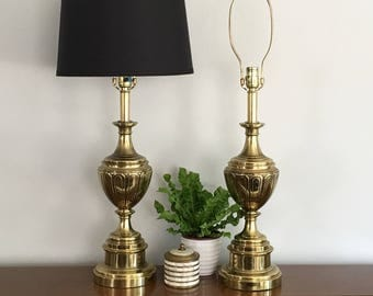 Pair Brass Stiffel Table Lamps Vintage Brass Trophy Urn Table Lamp