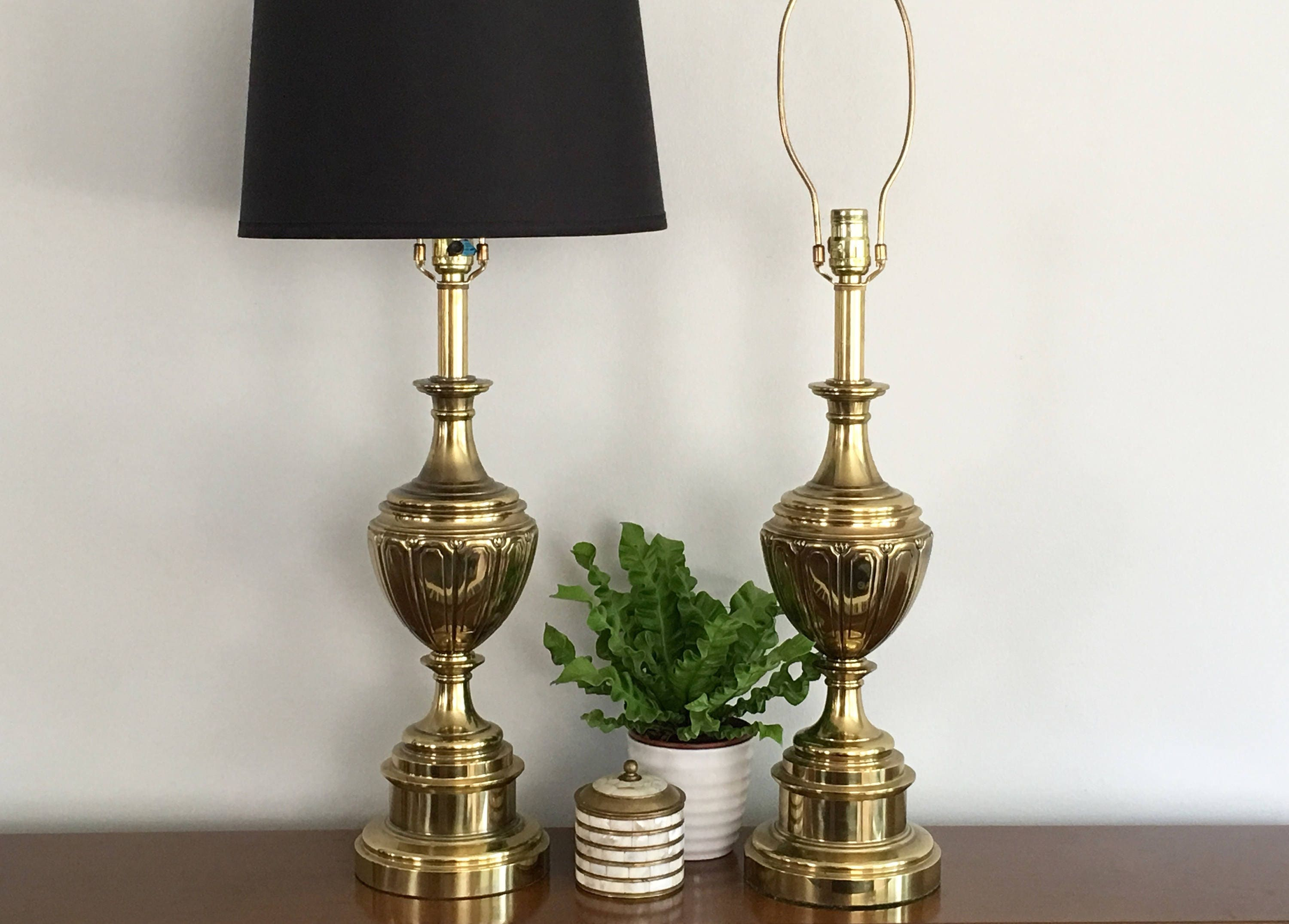 Vintage stiffel brass table lamps - Pair Brass Stiffel Table Lamps Vintage Brass Trophy Urn Table Lamp