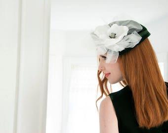 Vintage green velvet hat, huge white flower 1950s