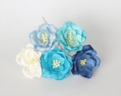 50 pcs - Shades pf turquoise Magnolia - Big poppy paper flowers - Wholesale pack