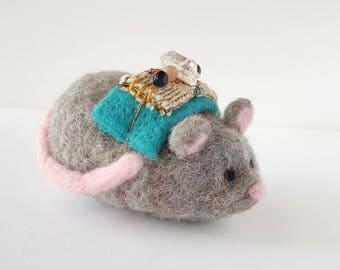 Grey Mouse Wish Bearer - Needle Felted Totem