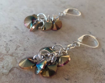 Multi-Color Crystal Cluster Earrings