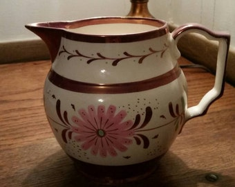 Free Shipping~Copper Lustreware Milk Pitcher ~ Old Castle