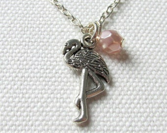 Silver Flamingo Necklace Kitsch Jewelry Pink Bead Gift for Her Under 10