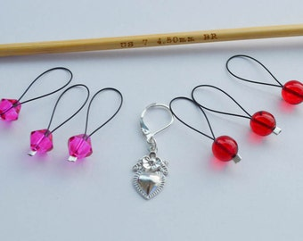 Beaded Stitch Marker Set Red and Pink with Silver Heart Charm Progress Keeper Knitting Notions Valentine Made with Love Gift