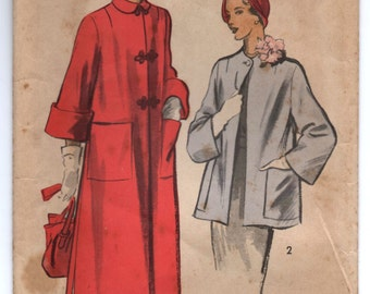 "1950's Advance Long Coat or Short Coat Pattern - Bust 30"" - No. 5460"