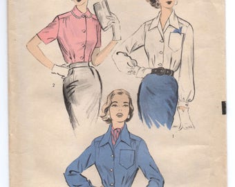 "1950's Advance Button Up Blouse Pattern with Wide or Peter pan Collar - Bust 32"" - UC/FF - No. 6549"