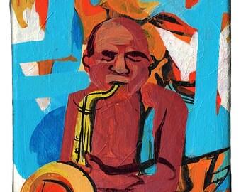 Small Original Painting Series – Musician Saxophone Acrylic