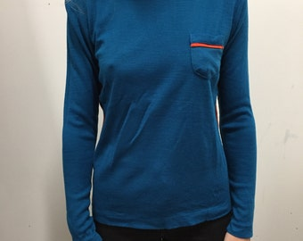 SALE - Blue Racing Sweater with Pocket and Orange trim - Size Small S Medium M