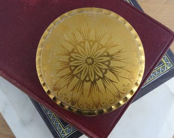 Pretty Vintage KIGU Brass Powder Compact Mirror, Patterned Brass Compact
