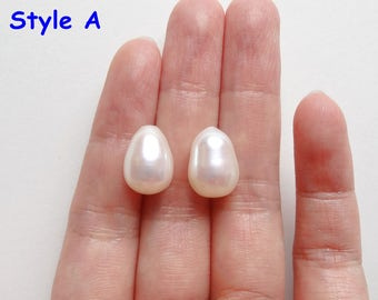 A grade Half Top drilled White Freshwater Pearl Oval Drops 9-9.5 mm One Pair Perfect for Earrings L3794 K5924