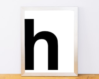 Lowercase Letter H, Typography Print, Printable Monogram, Printable Art, Minimal Decor, Black and White Wall Art, Digital Download