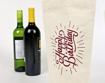 Wine Tote - Recycled Cotton Canvas - Red Happy Birthday