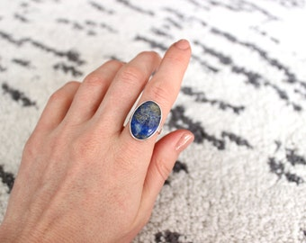 Blue Lapis Lazuli Ring, Sterling Silver Ring, Ring Size 7.5 US