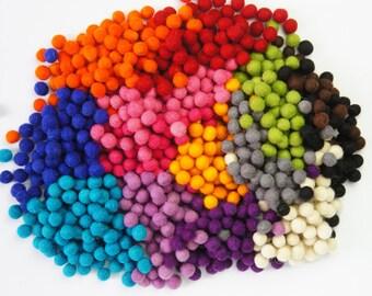 SALE 20% Felt Balls, Wool Ball, 1.3 cm 100 pcs, Felt Pom Pom, Pom Pom, Wool Pom Pom Ball, Christmas Ball, Ball Garland, Christmas Felt Ball