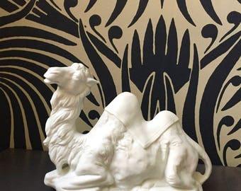Vintage Porcelain Bisque Sitting Camel / Porcelain Camel Figurine