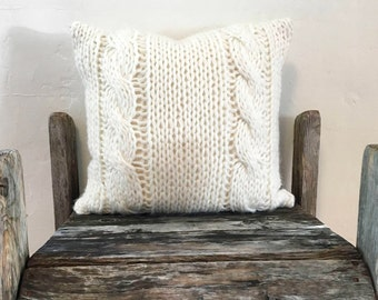 Hand knit pillow, Cable knit Pillow case, Hand Made, knitted throw pillow, 18x18, ivory pillow, soft French yarn, neutral color pillow