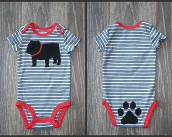 ANY dog breed!  Long or Short Sleeve baby onsie - black/red/gray - see photos for different colors/styles.