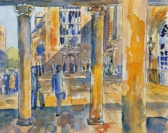 Bath Abbey print of a line and wash painting by John Menage size A3 or A4