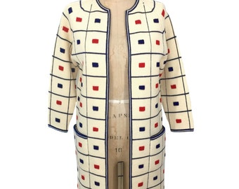 vintage 1960s mod sweater jacket / Lilly of California / red ivory blue / geometric / checked squares / women's vintage sweater / size small