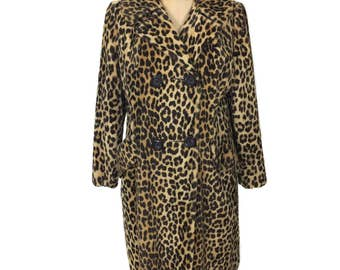vintage 1960's leopard print coat / faux fur / fun fur coat / animal print / double breasted coat / women's vintage coat / size large