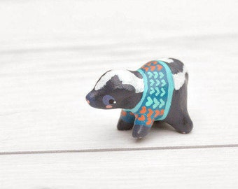 Miniature Baby Skunk Figurine Animal Sculpture, Animal Totem