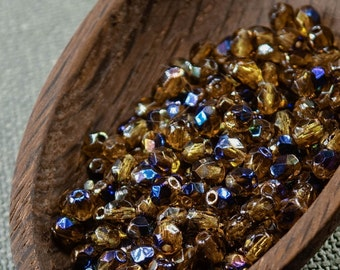 Small Topaz Fire Polished Czech Glass Beads 4mm (50) Polish Faceted Round Yellow Blue last