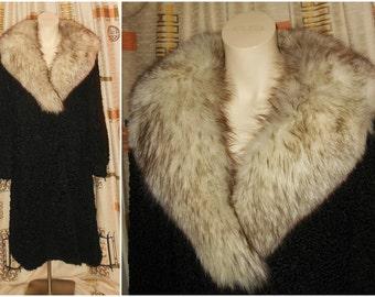 Vintage Fur Coat 1970s Long Black Persian Lamb Fur Coat Huge Fox Fur Collar Fur Beautiful Lining Must See! Boho Fur M L chest to 41