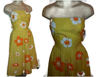 Vintage 1960s Sundress Strapless Halter Dress Antigua Boutique Tropical Orange Yellow Floral Screenprint Summer Rockabilly Tropical Dress S