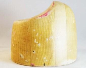 "Millinery wooden asymmetrical crown hat block - 22 1/2"""