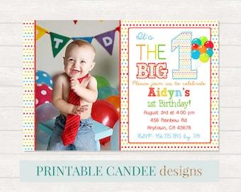 Rainbow 1st Birthday Invitation, Boy first Birthday, Boy Rainbow Invite, Colorful Birthday Invitation
